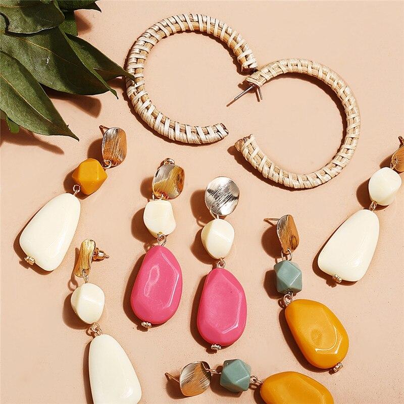 17KM Acrylic Irregular Wooden Straw Weave Rattan Drop Earrings For Women Geometric Long Earrings New Fashion Korea Jewelry