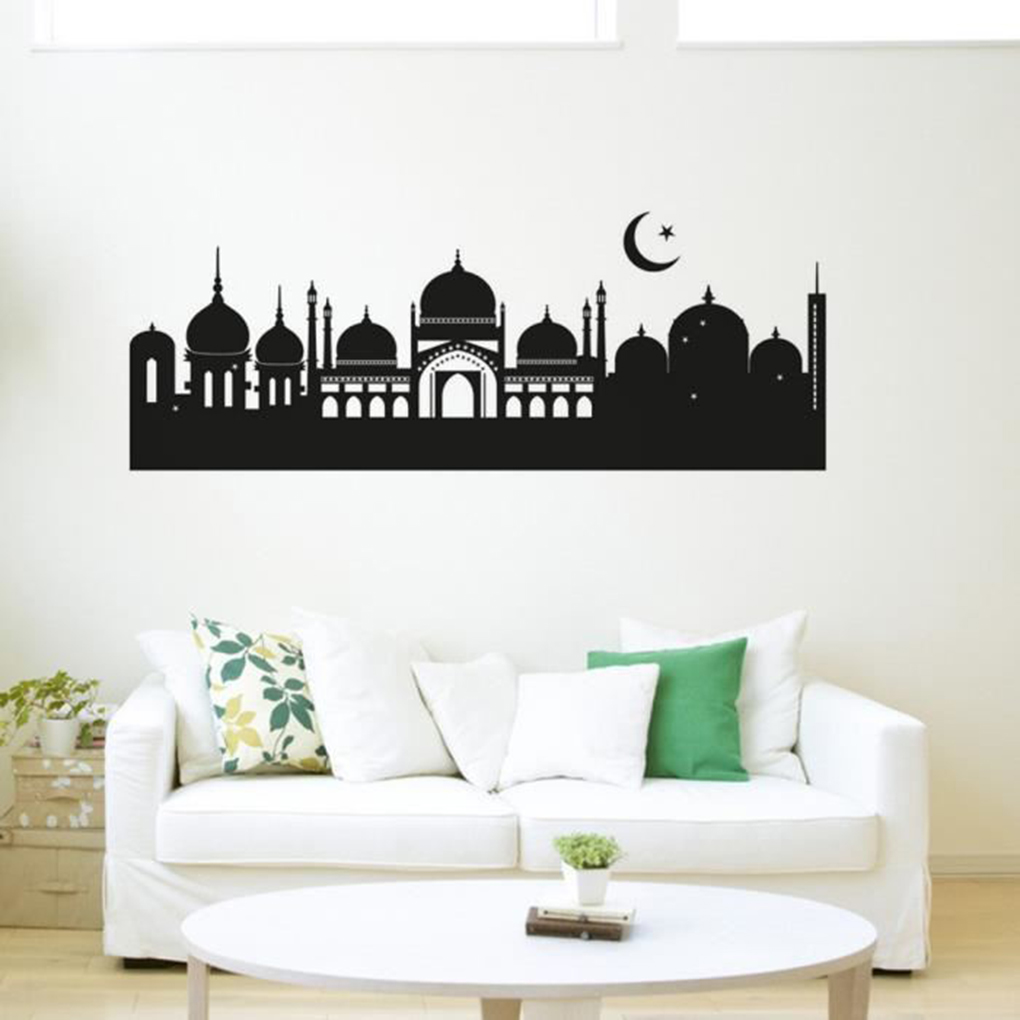 New products Black Castle Cartoon Removable Wall Stickers Home Decor Decals for Bedroom Living Room Office 45 x 120 CM