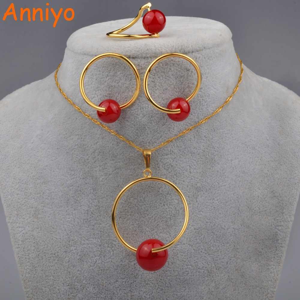 Anniyo Rode Bal Hanger En Kettingen Oorbellen Voor Vrouwen Kraal Sieraden Geschenken (Rode Kralen Is Afneembaar) #090706