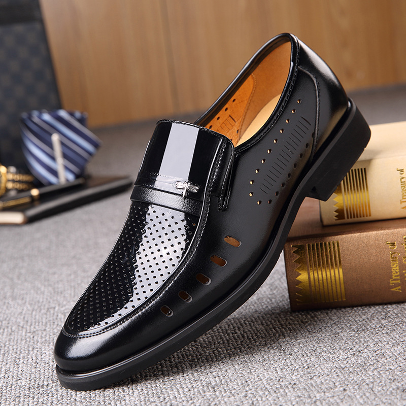 Summer new men's leather shoes, dressing breathable, fashion wild(China)