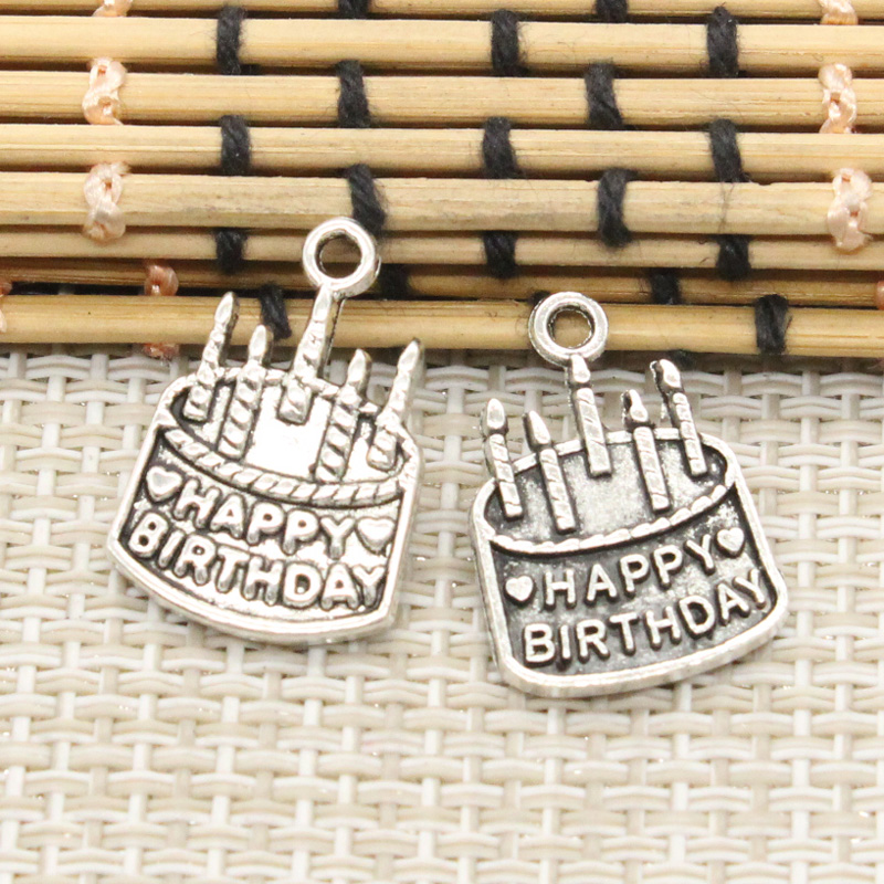10pcs Charms birthday cake 18*15mm Tibetan Silver Plated Pendants Antique Jewelry Making DIY Handmade Craft
