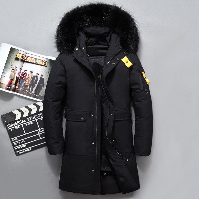 Fashion Design Fur Collar Thick Men's down jacket Black Coffee Winter Jacket Men Brand Long Coat Russia Down Male 40 Degree