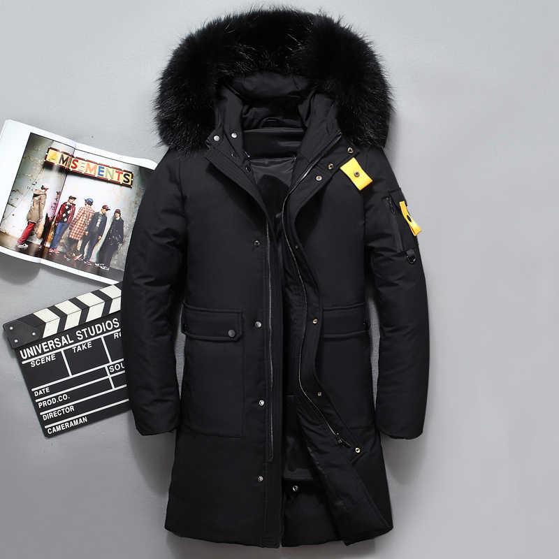 ab7ec800e Fashion Design Fur Collar Thick Men's down jacket Black Coffee Winter  Jacket Men Brand Long Coat Russia Down Male -40 Degree