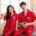 Envío gratis moda 2016 verano pijamas set noche de dibujos animados manga corta amantes rojos homewear parejas 100% algodón conjuntos de pijamas