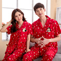 Free shipping fashion 2016 summer pajamas set Night Short-sleeve cartoon Red lovers homewear couples 100% cotton pajamas sets