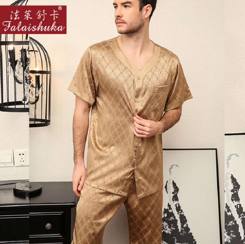 Silk Stain Pajamas Set Summer Plus Size 2019 Short Sleeve Men Silk Shorts Pajama Sets Two Piece Sets Home Sleep Wear Clothing