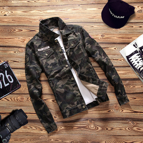 Camouflage 2019 Autumn  Jacket Men Denim Regular Turn-down Cotton Casual Solid Loose Pockets Street Wear Jackets Coats Islamabad