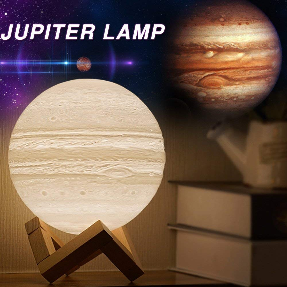 3D печать Луны лампа USB Перезаряжаемые затемнения светодио дный полная луна лампа 3D выключатель теплый/холодный белый Юпитер свет для дети С…