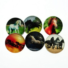 30Pcs Mixed Horse Patterns Glass Round Click Copper Snap Press Buttons Fashion DIY Crafts Making 18mm