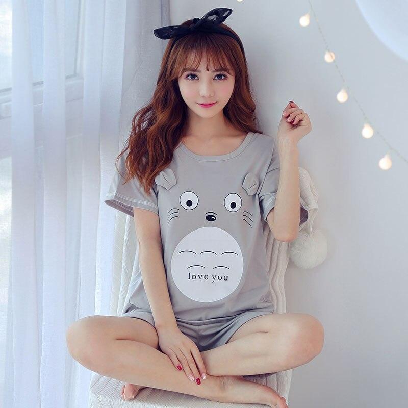 2019 Summer Womens   Pajamas   cotton pj   set   Cute   Pajama     Set   Girl Print Pyjama   Set   Short Sleeve Sleepwear Suit Women Nightshirt   Sets