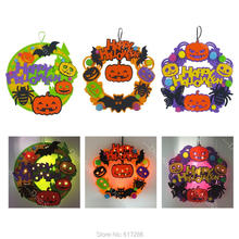 Halloween gift  LED Light Wreath Pumpkin Bat Spider Decoration