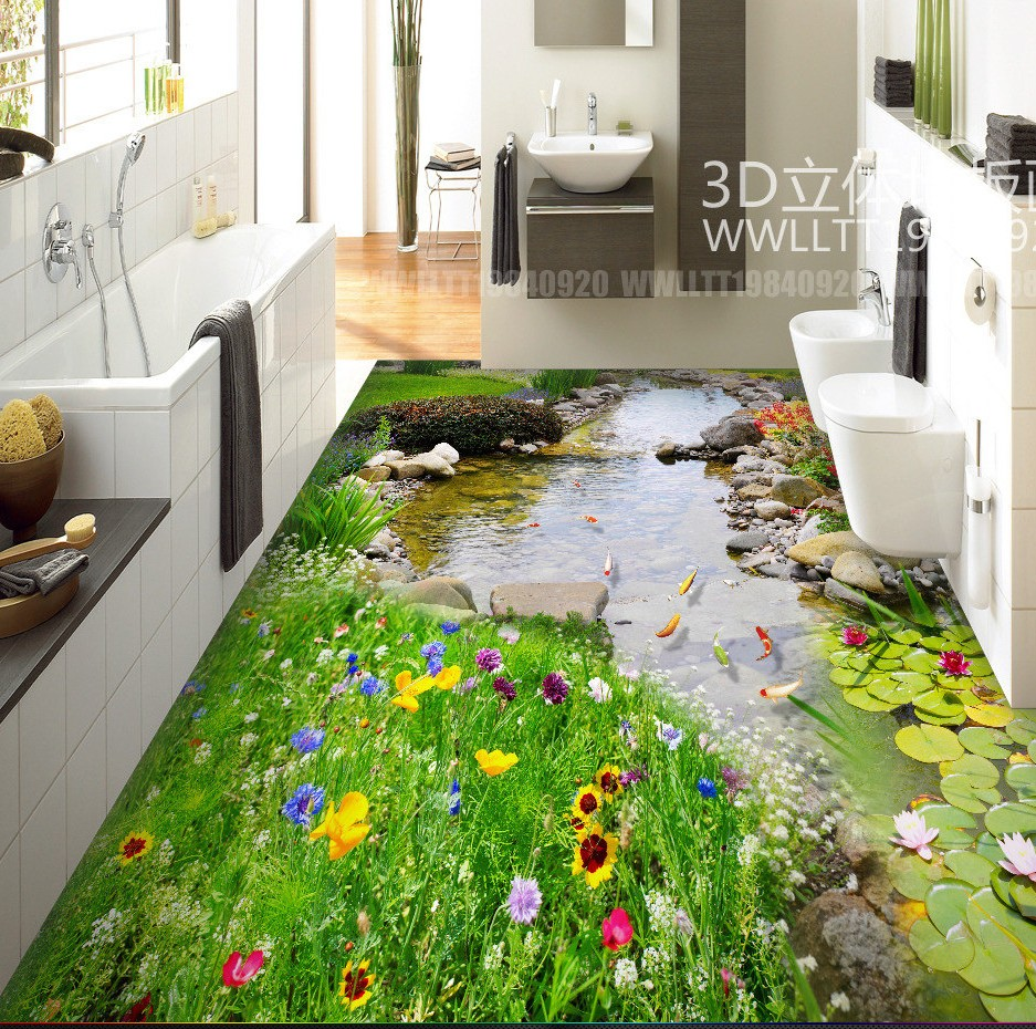 купить Free Shipping 3D high quality Green Garden Creek Art Flooring Bathroom courtyard cafe restaurant floor wallpaper mural дешево