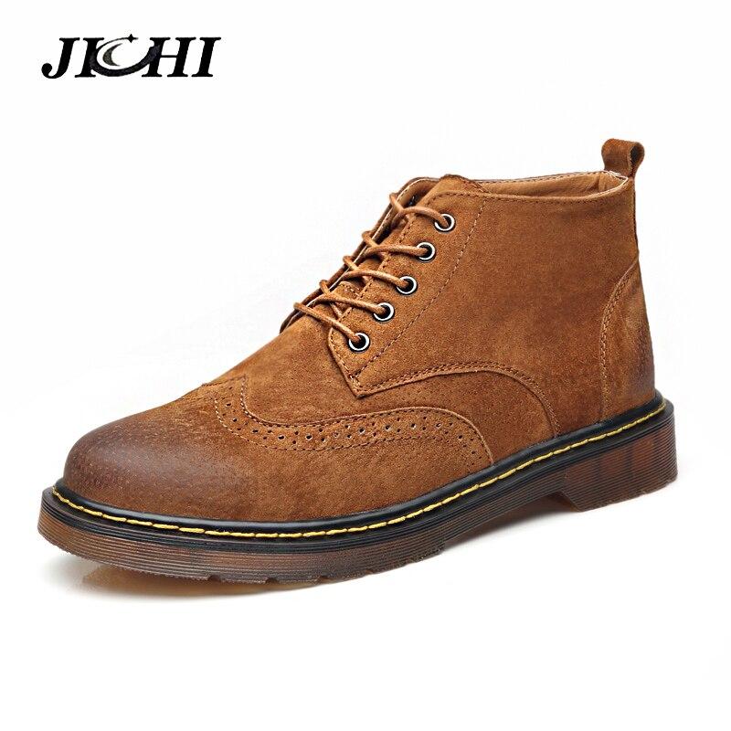 2018 Leather Casual Boots Men Autumn Winter Ankle Boots Fashion Men Lace-Up British Style Short Boot Men Quality Retro Men Shoes men spring autumn full grain leather ankle boots lace up fashion casual real leather men boots 20170107