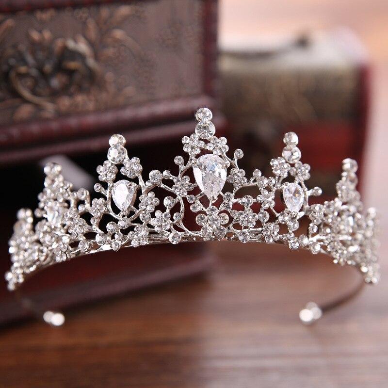 Luxury Baroque Rhinestone Flower Handmade Bridal Crown Tiaras Silver Crystal Diadem for Bride Wedding Coronal Hair Ornaments SL