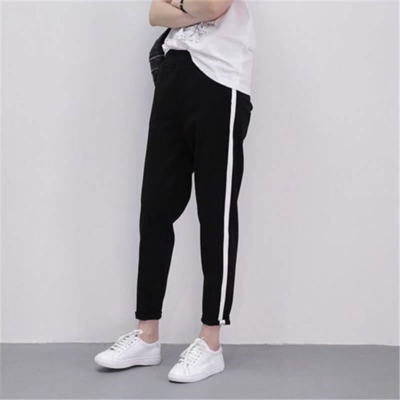 Fashion Women Cotton Trousers Track Pants Classic Striped