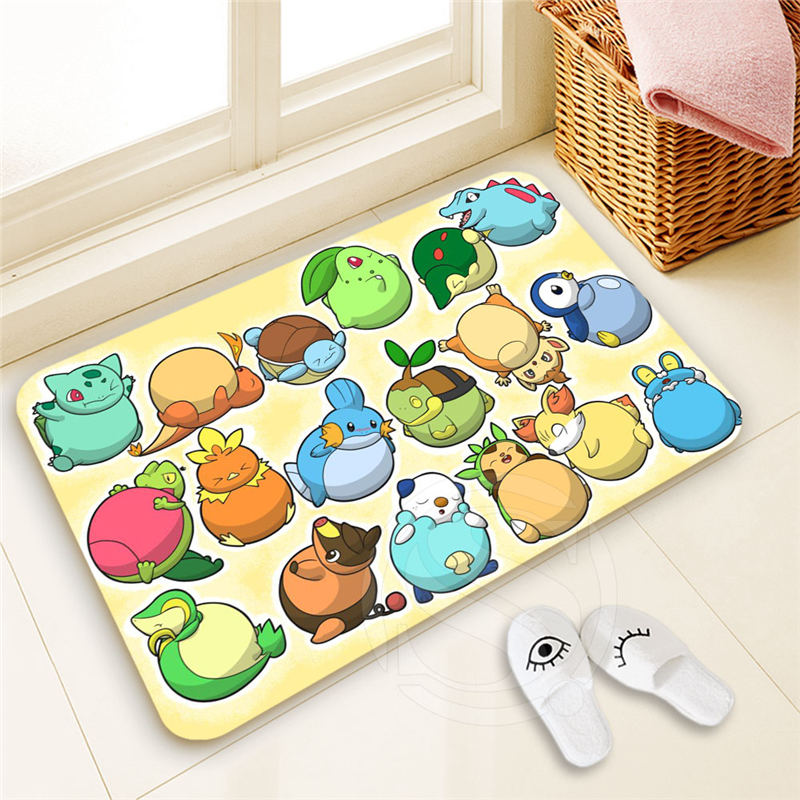 Best Nice Custom Pokemon Doormat  Home Decor 100% Polyester Pattern Door mat Floor Mat foot pad SQ00722-@H0645