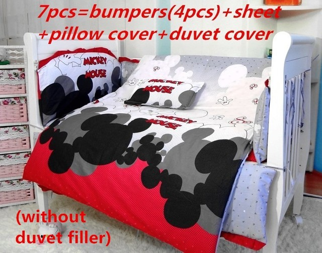 Promotion! 7PCS Mickey Mouse Crib Baby Bedding Bumper Set Cheap Baby Cots Beds (bumper+sheet+pillow cover+duvet cover))