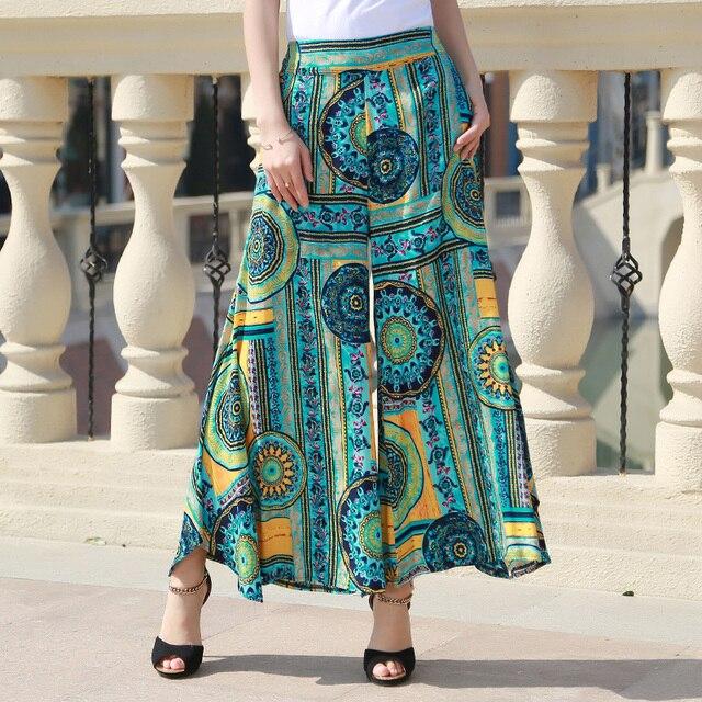 2017 new women summer casual pants Wide leg women losse print Vintage trousers