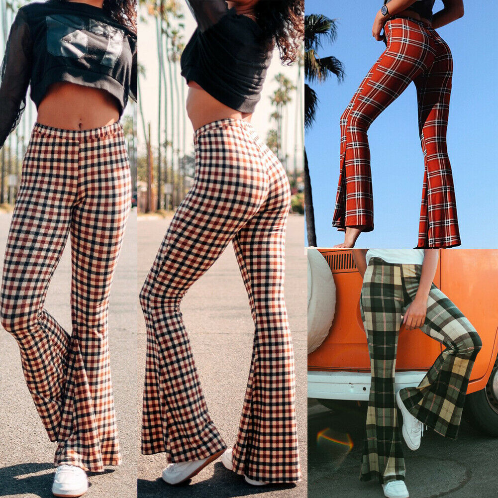 Vintage Plaid Women Girls High Waist Bell Bottom Long Flare   Pants   Stretch Boho Hippie Bell-Bottom   Pants