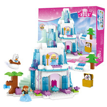Compatible Legoe Duplo 153pcs Large particle Building Blocks Ice Dream princess castle Bricks kids toys for children girl gifts(China)