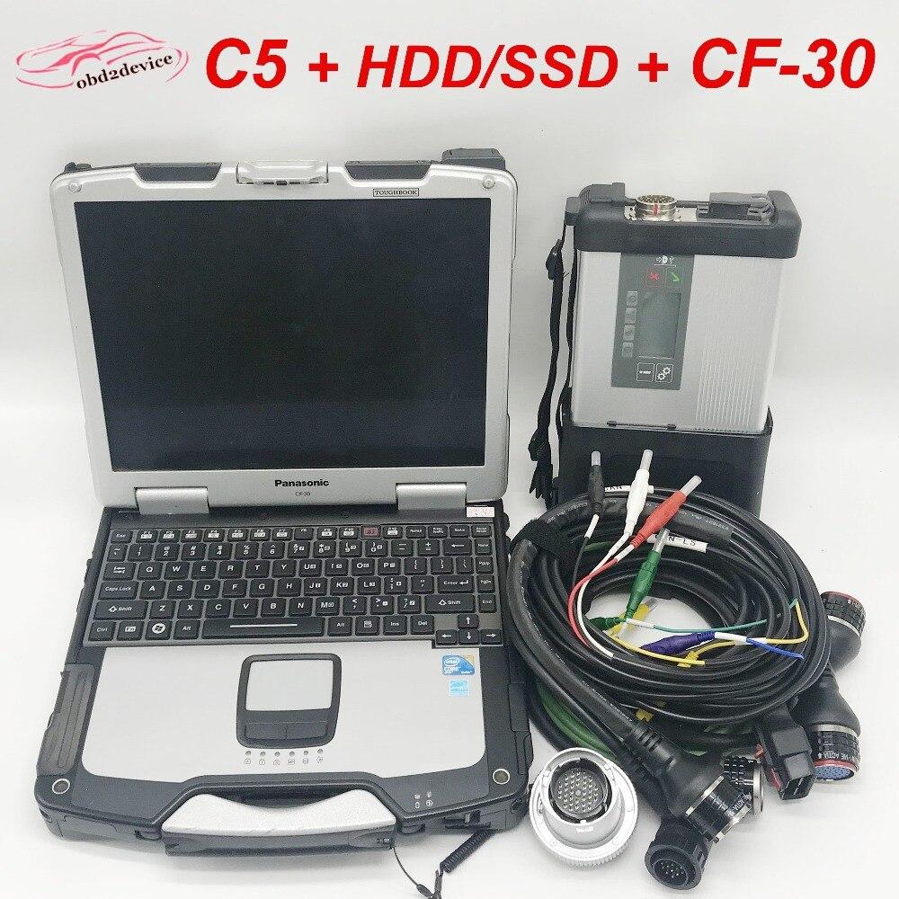 Одежда высшего качества MB STAR C5 и CF30 ноутбук с 2018,12 программного обеспечения HDD/SSD Автомобильный сканер мультиплексор SD подключить C5 готовая к...