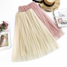 AcFirst Spring Pink Black Khaki Women Skirts A-Line Casual Mid-Calf Long Skirt Mesh Clothing Sexy Sweet Plaid