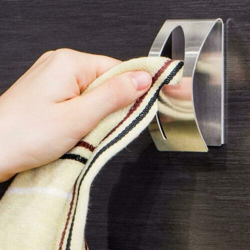 New Adhesive Home Kitchen Wall Door Stainless Steel Towel Holder Hook Hanger Silver Color Make Life Convenient