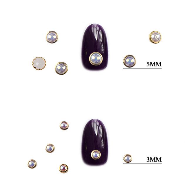 1Box AB Beige Metal Edge Glitter Nail Beads Studs Beauty Charm Nail Art DIY Pearls Decorations Wheel