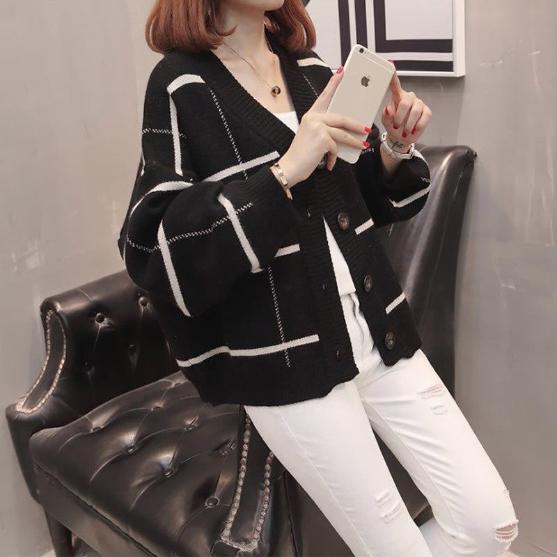 2019 femmes à manches longues tricoté Cardigan chandail avec boutons dames automne hiver 2019 nouveau surdimensionné cachemire chandails manteau XXXL - 5