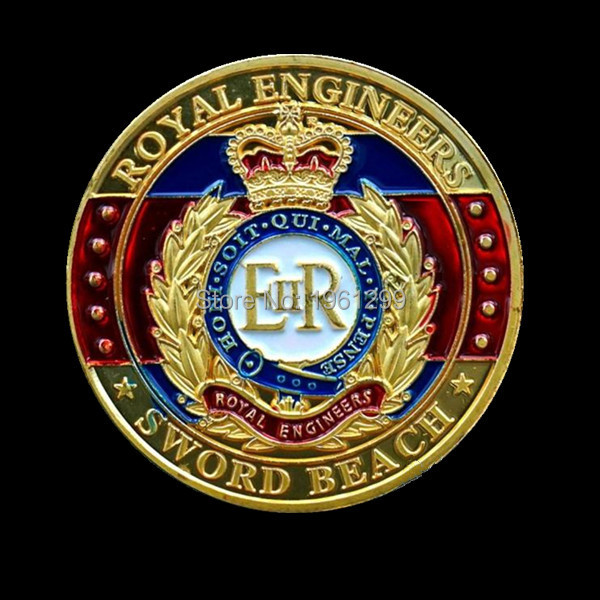 sample order,3pcs/lot Free shipping 24k gold plated royal engineers coin+ European Union coin