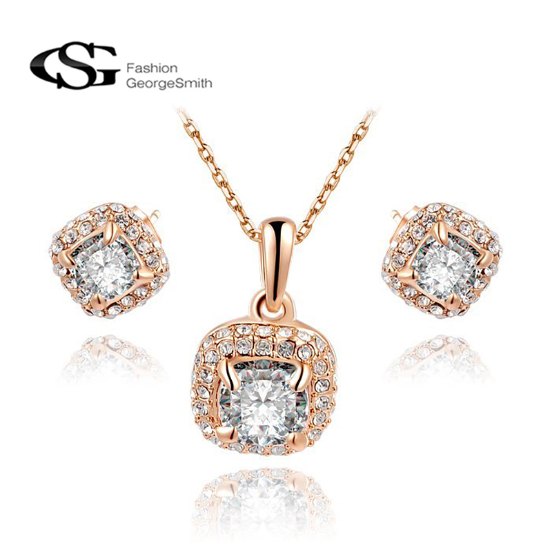 GS jewelry sets necklace set Square Zircon crystal rose gold Color
