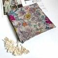 Bufanda cuadrada para Las Mujeres Antiguas Borlas Florales Chal Bandana Moda Delgada Nuevo 110x110 cm [1109]