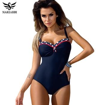 NAKIAEOI 2019 One Piece Swimsuit Plus Size Swimwear Women Push Up Swimwear Print Patchwork Vintage Retro Bathing Suit Swim Wear