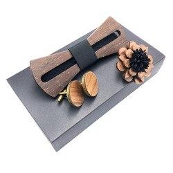 Hout vlinderdas set mannen houten broche en manchetknopen hout strikje bruiloft dinne Handgemaakte corbata Houten Banden Gravata set