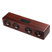 HiFi Wooden Soundbar Wireless Bluetooth Speakers with Subwoofer Portable Speaker for TV Home Theatre Wood Sound Bar AUX Column