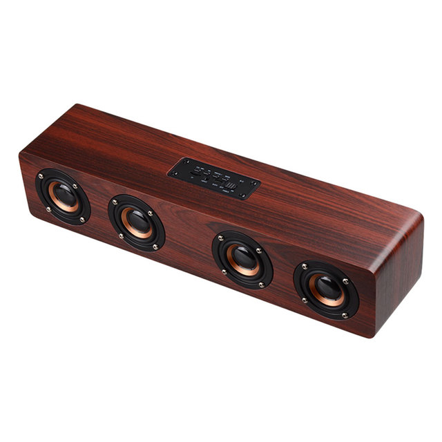 Hifi Wooden Soundbar Wireless Bluetooth Speakers With Subwoofer Portable Speaker For Tv Home Theatre Wood Sound