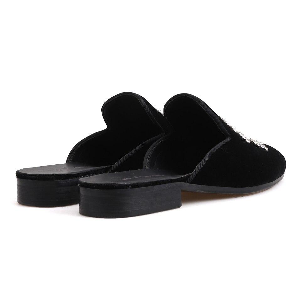 Para Fiesta Hombre Tallas Terciopelo Grandes De Mano Piergitar Cristal A Medias Vestir Fumar Negro Zapatillas Con Hechas Moda Zapatos Diseños a0xPxwYq