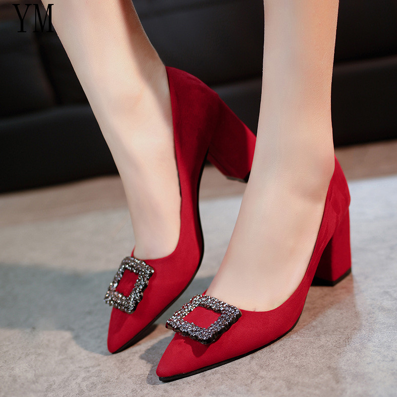 Women Pumps High Heels Lady Suede Leather Crystal Square Buckle Thick With Autumn Pointed Single Shoes Wedding Female Sandals