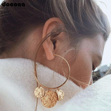docona Punk Gold Silver Color Round Wafer Drop Dangle Earrings for Women Abstract Circle Pendant Earring Pendientes 3537