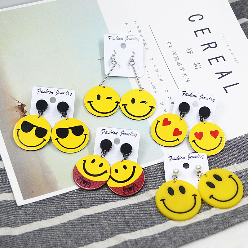 European and American acrylic simple personality tide female network hot style fashion long acrylic expression earrings