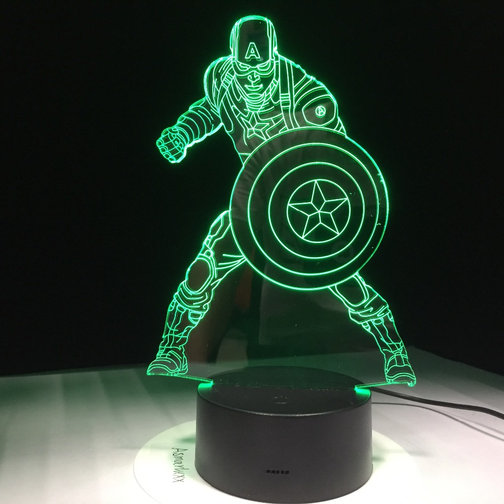 Marvel Civil War Captain America 7 Color Changing Light 3D Illusion Bulbing Lamp Halloween Christmas Kids Gift GX359 free shipping 1piece new arrive marvel anti hero deadpool figure light handmade 3d bulbing illusion lamp led mood light for kid