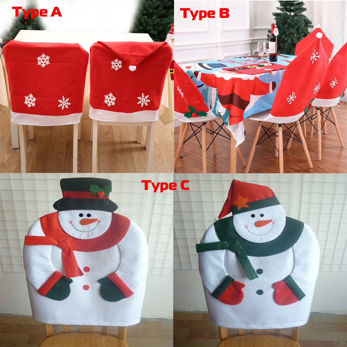 Christmas Chair Back Cover Santa Claus Cap Red Hat for ...