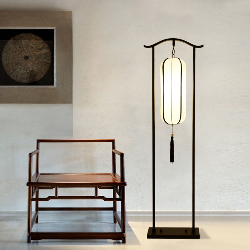 Chinese Style Retro Floor Lamp Living Room Bedroom Bedside Vertical ...