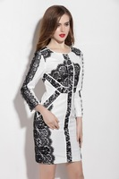 New High End Lace Stitching Fashion Dress Spring Autumn Women Mini Long Sleeved Stretch Bodycon Back