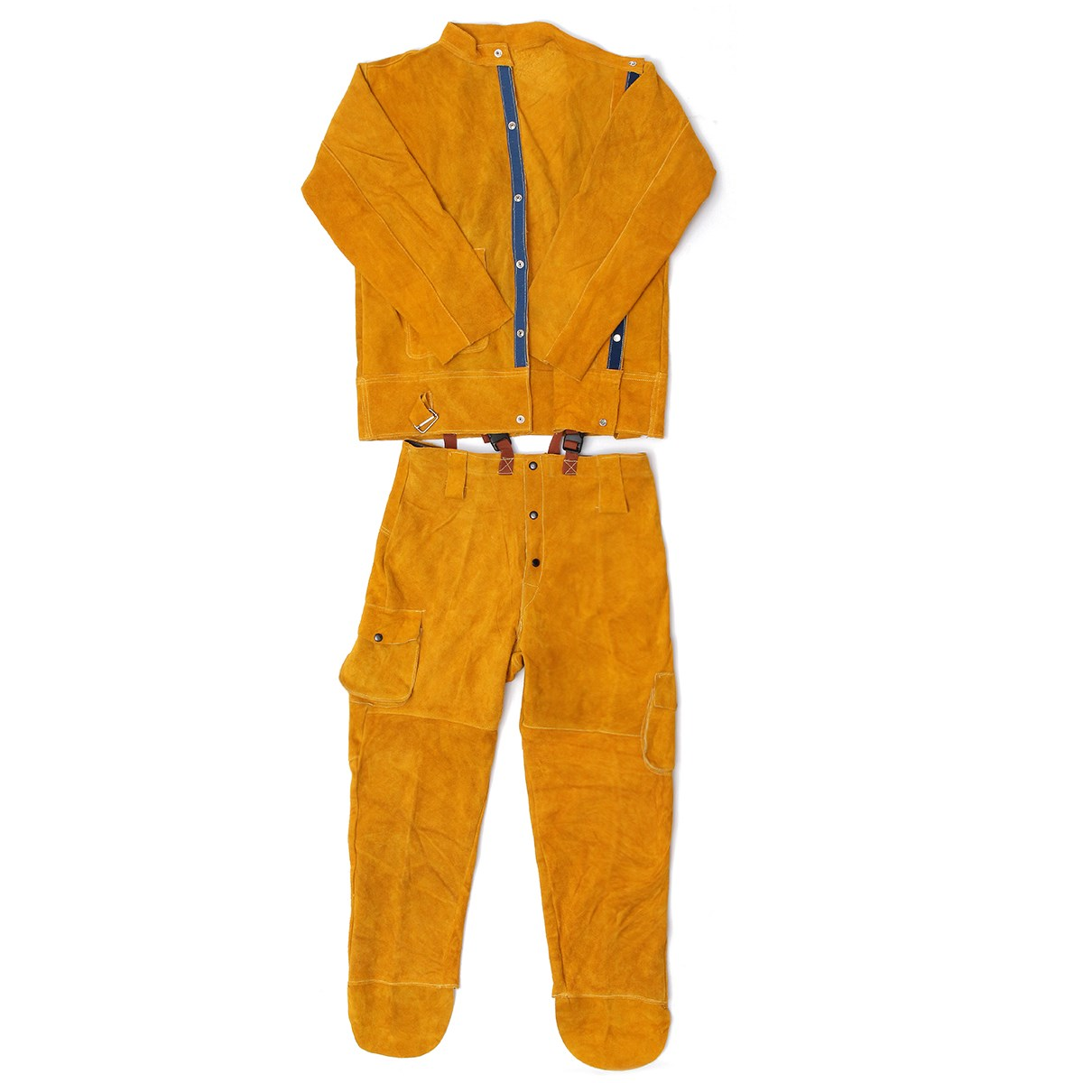 One Set Leather Welding Strap Trousers & Coat Protective Clothing Apparel Suit Welder Safety Clothing leather welding long coat apron protective clothing apparel suit welder workplace safety clothing