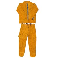 One Set Leather Welding Strap Trousers Coat Protective Clothing Apparel Suit Welder Safety Clothing