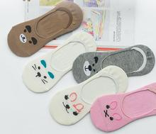 3 Pair/lot Women Sock Slippers Small Animal Cartoon Short 100% Cotton Invisible socks Breathable Casual Ladies Funny S22 цены
