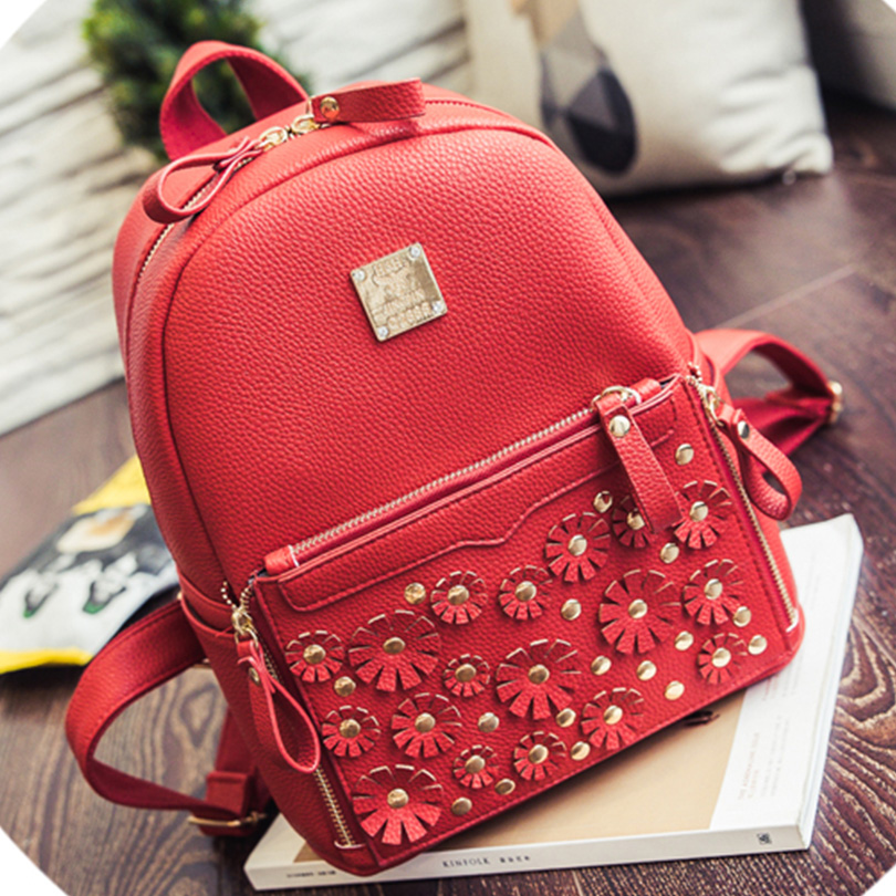 ФОТО Women School Backpack 2016 New Arrival Fashion PU Preppy Style Women Girl Bicycle Backpack With Zipper Floral Women Backpack