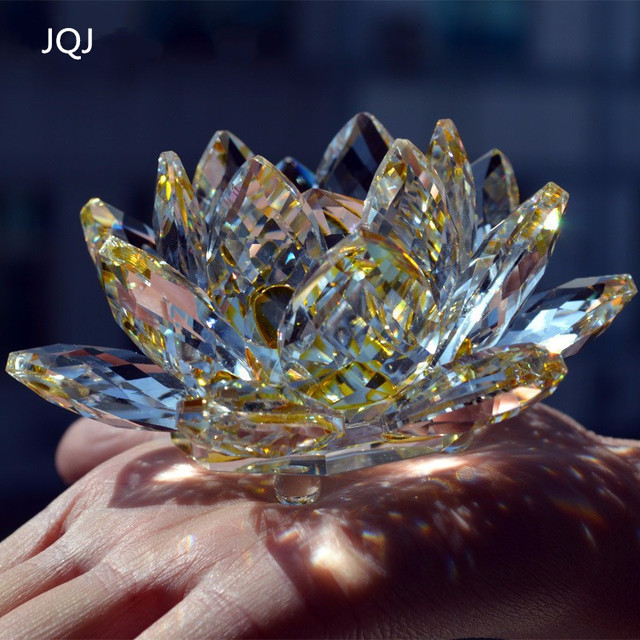 Jqj feng shui decorative flowers hand crystal glass lotus flower jqj feng shui decorative flowers hand crystal glass lotus flower figurine craft home desk ornament miniature mightylinksfo Image collections