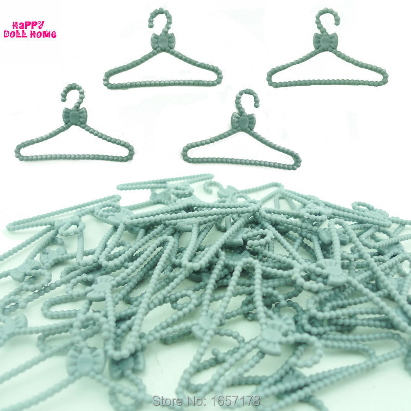 20 PCS/Lot Silver Gray Hangers Accessories For Barbie Doll Clothes Dress Outfit Skirt Shoes Pretend Play House Girls' Gift 2E